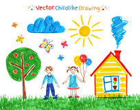 Child drawings vector set Royalty Free Stock Image