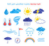 Child drawings of weather symbols Royalty Free Stock Photo