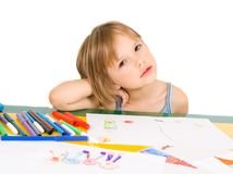 Child draws. Isolated on white Stock Photography