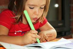 Child draws Royalty Free Stock Photo