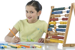 Child draws. On the white background Stock Image