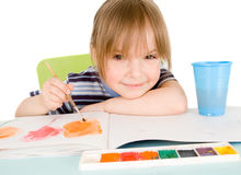 Child draws Stock Images