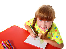 Child draws color pencils Stock Image