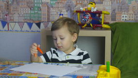 Child Draws Crayons stock video footage