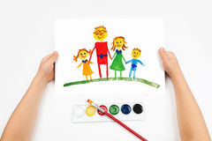 Child draws the family Royalty Free Stock Photography