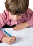 Child draws a house. At school Royalty Free Stock Photos