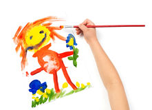 Child draws mother watercolors Stock Photography