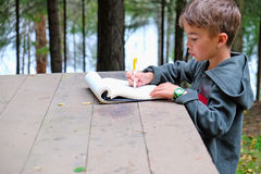 Child draws on nature Royalty Free Stock Photos