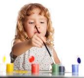 Child, draws paint Stock Photos