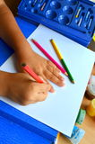 Child draws Royalty Free Stock Photography