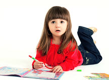 The child draws a picture Royalty Free Stock Images