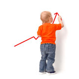 Child draws redden arrow Stock Images