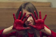 Free Child Draws With His Hands Stock Image - 177375791