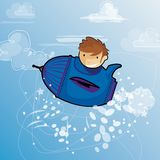 A child Dreams of travel in the sky. Un enfant dans un avion vole dans le ciel bleu vector illustration