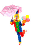 Child dressed as colorful funny clown Royalty Free Stock Image