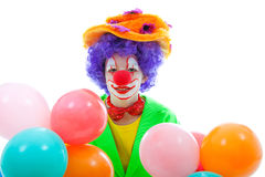 Child dressed as colorful funny clown Stock Photography