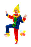 Child dressed as colorful funny clown Stock Image