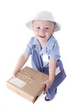 Child Dressed as a Delivery Man stock photography