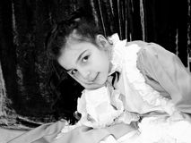 Child dressed as a lady. Little woman dressed as a historical Italian lady royalty free stock photos