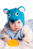 Child dressed as a mouse with cheese. Funny small child dressed as a mouse with cheese, new year Stock Image