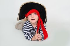 Child dressed as pirate over white Royalty Free Stock Photos