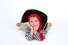 Child dressed as pirate over white Royalty Free Stock Image