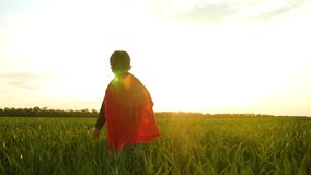 A child dressed as a superhero runs across the green grass towards the sunset