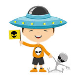 Child dressed as a UFO Royalty Free Stock Photography
