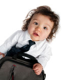 Child dressed in a business with a bag Royalty Free Stock Photos