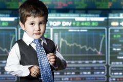 Child dressed businessman. stock market Stock Image