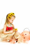 Child Dressed in Fairy Costume. Little girl dressed up as a woodland fairy is ready for Halloween against a white background Stock Photos