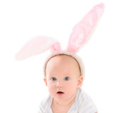 Child dressed up as Easter bunny Stock Photo