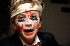 Child dressed up for halloween. Close-up portrait of child in costume Royalty Free Stock Images