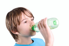 Child drink water. On white background stock photo