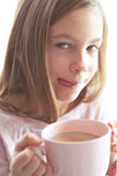 Child drinking cocoa Royalty Free Stock Photography