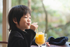 Child drinking fresh orange juice Royalty Free Stock Photos