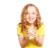 Child drinking milk. Healthy teeth and smiling Stock Photo