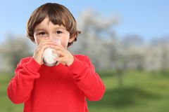 Child drinking milk kid glass healthy eating. Drink royalty free stock photos