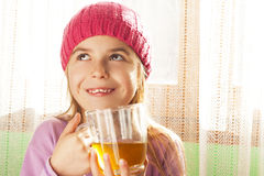 Child drinking tea Stock Photo