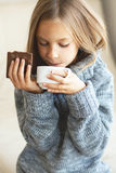 Child drinking tea Stock Image