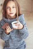 Child drinking tea Royalty Free Stock Images