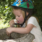 Child drinking water from a fountain Stock Photos
