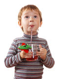 The child drinks juice Stock Photo