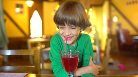 The child drinks juice. Portrait of happy little cute boy drinking berry juice smoothie through straw and smiling stock footage
