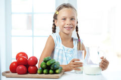 Child drinks milk Stock Photography