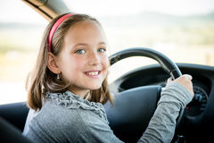 Child driving car Royalty Free Stock Image