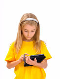 A child with an e-book Stock Image