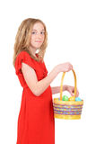 Child with an easter basket Royalty Free Stock Image