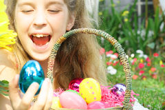 Child with easter egg basket. Shot of a child with Easter egg basket Stock Photography