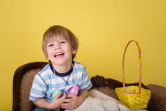 Child with Easter Egg Basket, Egg Hunt Stock Photography
